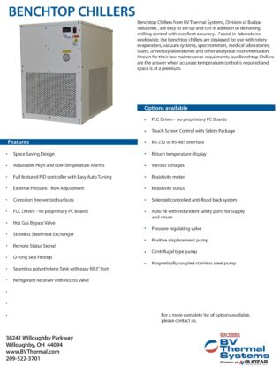 Benchtop Chillers from BV Thermal Systems Literature